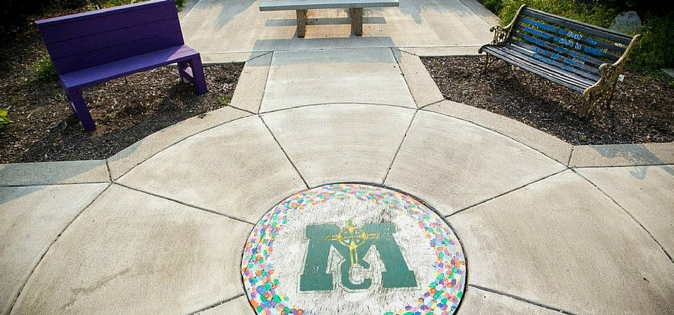 patio outdoors on Muskegon Catholic Central campus